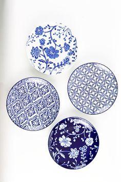 Mothology.com - Handpainted Blue Salad Plates, $60.00 (http://www.mothology.com/handpainted-blue-salad-plates/)