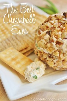 The Best Cheese Ball Ever // High Heels and Grills. I know this sound like an exaggeration to call it the best ever, but. It's like heaven in my mouth. Finger Food Appetizers, Yummy Appetizers, Appetizers For Party, Appetizer Recipes, Snack Recipes, Cooking Recipes, Best Appetizers Ever, Party Dips, Dip Recipes
