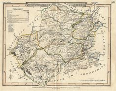 """British Antique Shire Map - """"""""MONTGOMERYSHIRE"""""""" - c1820 - by Carey - Hand-Colored Engraving"""