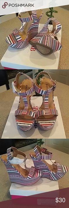 "JustFab multi color Wedges Never worn, new in box. Multi color wedge heels. 5.75"" heel with 2"" foot platform. Very beautiful pair of wedges....! JustFab Shoes Wedges"
