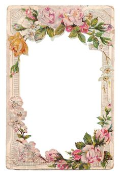 Free Vintage Digital Flower Frame with Roses and Dogwood ~ JPEG and PNG downloads: