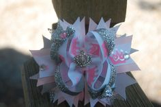 Princess Bling Stacked Boutique Bow with Crown