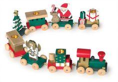 Weihnachtskarawane.  Eine bunte Bahn mit weihnachtlichem Flair. Die Geschenke kommen nun per Bahn! Eine weihnachtliche Ausführung der Geburtstagszüge! L = 54 cm