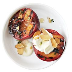 Honey Glazed Plums with Almonds and Creme Fraiche | CookingLight.com