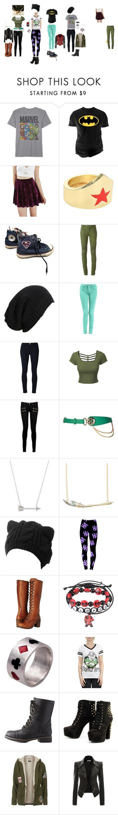 """Marvel and DC, Heroes vs Villains"" by caspergirt ❤ liked on Polyvore featuring JEM, Changes, Topshop, DC Comics, Converse, Balmain, AllSaints, Frame, LE3NO and Paige Denim"