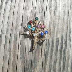 1970s Vintage Rhinestone Tree of Life Brooch or Pin Signed dce Sterling by Curtis Jewelry, 11 Rhinestones in 8 Colors, Vintage Brooch Pin by VictorianWardrobe on Etsy