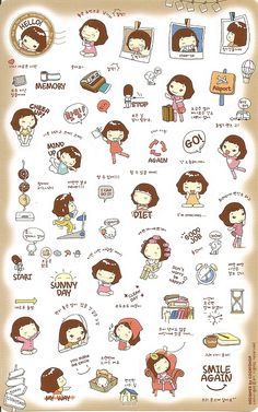 The Pink Thought Bubble by BabyJap: Korean Stickers : Just Because I Miss Being A Kid :) Korean Stickers, Emoji Stickers, Tumblr Stickers, Kawaii Stickers, Cute Stickers, Planner Stickers, Journal Stickers, Printable Stickers, Kawaii Drawings