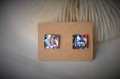 RESIN Earring Gem SQUARE Earring Gold / Red / Blue Hexagon