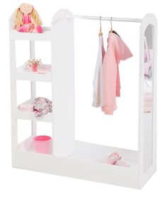 Kids Montessori Clothes Rack   4 Shelves & Mirror   White   1.07m high – www.littlehelper.co.uk Baby Cupboard, 4 Tier Shelf, Girls Dress Up, Neat And Tidy, Wardrobe Rack, Montessori, Shelves, Mirror, Mirrors