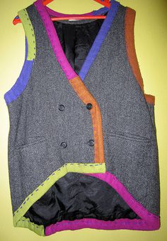 Wool Tweed upcycled Hand sewn vest circa 1995 fits by monapaints, $225.00