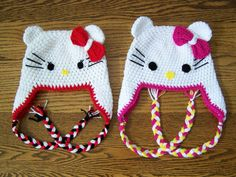 HOW CUTE.   Beautiful Crochet Hello Kitty Hat by craftswithlove4U on Etsy, $19.00