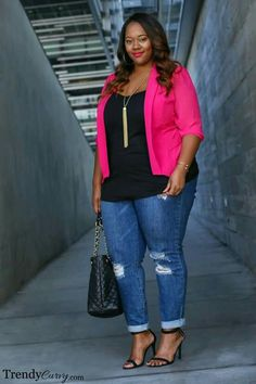 Pink button blouse, black tank, ripped jeans, heals, #plussize