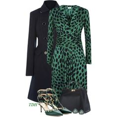 A fashion look from November 2014 featuring green leopard dress, navy blue coat and green leather pumps. Browse and shop related looks.