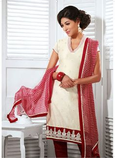 Truly Exotic White & Red Cotton Silk Lace Work Based #SalwarKameez