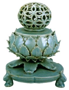 """(Korea) Korean Celadon openwork Incense Burner, ca first half of the 12th century CE, celadon glazed Porcelain, height 15.3cm. Goryeo dynasty, Korea. This object is listed at """"#307 National Treasures of South Korea"""". National Museum of Korea."""