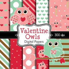 Valentine Owls Digital Papers