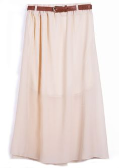 Apricot Belt Waist Chiffon Long Skirt US$25.42