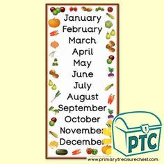 Harvest Months of the Year Poster - Primary Treasure Chest Teaching Activities, Teaching Art, Teaching Ideas, Thanksgiving Fruit, Ourselves Topic, January February March April, Months In A Year, Treasure Chest, Literacy