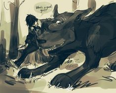 Nico di Angelo and the hellhound, Mrs. O'leary / Percy Jackson / Heroes of Olympus - art by (duh) Viria