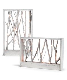 look at this led micro string wood branch wall art set on