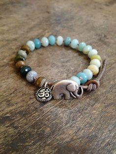 Boho Elephant, Rustic Silver Om Knotted Leather Wrap Bracelet , Bohemian Jewelry $34.00