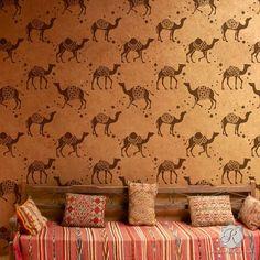 Bohemian Moroccan Decor with Camel Wallpaper Wall Stencils - Royal Design Studio