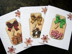 Holiday Note Cards Set of 6 embossed cards note by littledebskis   SOLD!!!!
