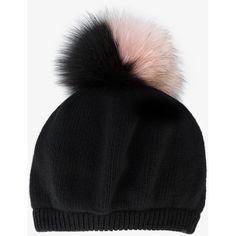 Miu Miu Black Fur Pom Pom Hat (£300) ❤ liked on Polyvore featuring accessories, hats, pom pom hat, fox fur pom pom hat, beret hat, pompom hat and fox fur hat