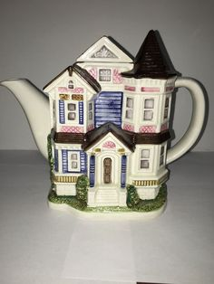 OTAGIRI Blue VICTORIAN ROW HOUSE Ceramic TEA POT Figural Hand Crafted Japan