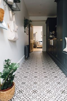Rebecca's Utility and Boot Room Tiles, radiator, kitchen cupboards Boot Room Utility, Utility Cupboard, Hall Cupboard, Laundry Cupboard, Laundry Rooms, Hall Tiles, Tiled Hallway, Grey Hallway, Entry Hallway