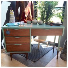 SOLD//Mid Century Modern Painted Two-tone Desk, Blue, Wood, Refinished Desk by OakandOliveHome on Etsy https://www.etsy.com/listing/204232821/soldmid-century-modern-painted-two-tone