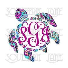 Lilly Pulitzer Inspired Sea Turtle With Monogram Decal Sticker For Yeti Cooler Rambler Tumbler Laptop Cup Mason Jar by SouthernJaneGraphics on Etsy Cricut Monogram, Monogram Stickers, Monogram Shirts, Vinyl Shirts, Personalized T Shirts, Car Monogram, Vinyl Crafts, Vinyl Projects, Paper Crafts