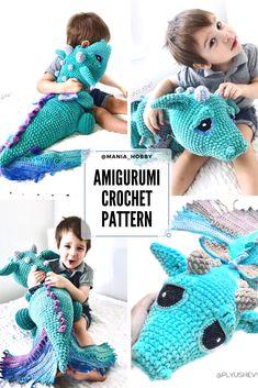 Crochet Dragon Pattern, Crochet Animal Patterns, Crochet Patterns Amigurumi, Crochet Dolls, Crochet Dinosaur Pattern Free, Crochet Shark, Cute Crochet, Crochet For Kids, Crochet Crafts