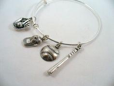 Silver Bangle Bracelet Baseball Theme Alex and by DesignsBySuzze, $15.00