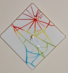 Fused Glass White Cracked Wall Clock - 311. $60.00, via Etsy.