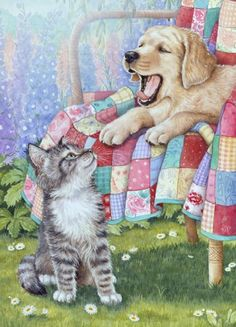 A 88 pieces jigsaw puzzle from Jigidi Puppy Pictures, Animal Pictures, Cute Pictures, Animal Paintings, Animal Drawings, Animals And Pets, Cute Animals, Cat Dog, Cute Friends
