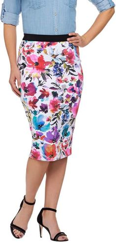 56b5983d68 G.I.L.I. Got It Love It G.I.L.I. Petite Printed Floral Pencil Skirt Petite  Pencil Skirt, Floral