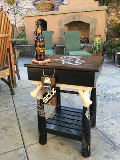 White sox fan ordered this and I shipped it off to Illinois. Comes a beer bottle opener/catcher and removable table top for storage