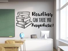Reading wall decal //gift for readers Reading wall decal, book wall decal, Reading decal, reading wa Classroom Wall Quotes, Classroom Walls, Classroom Design, Classroom Decor, Teachers Room, Reading Wall, Pile Of Books, Diy Wall Painting, School Murals