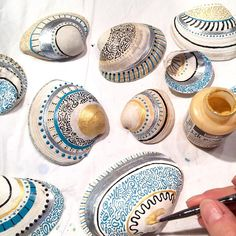 """58 Likes, 7 Comments - Florence Pindrys (@butterfly.rouge) on Instagram: """"Work in progress. Painting sea shells. Beautifully detailed with many different paint types and…"""""""