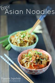 Easy Asian Noodles are so easy and delicious! You won't miss take out the unknown ingredients when you can make this simple, quick, and healthy dinner!