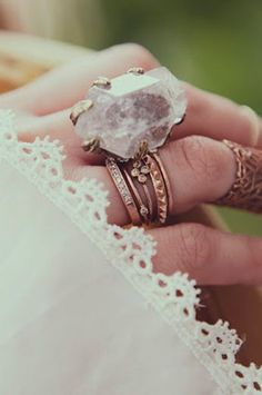 crystals & stacked rings boho chic fashion style trend Pinned By: Live Wild Be Free www.livewildbefree.com Cruelty Free Lifestyle & Beauty Blog. Twitter & Instagram @livewild_befree Facebook http://facebook.com/livewildbefree