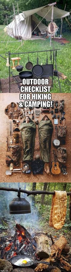 Whether you are hiking, camping glamping, or traditional tent camping it is oh so important not to forget ESSENTIAL camping gear and hiking gear that if forgotten could cause a real pain in the ass inconvenience. This is a detailed camping checklist/camping must haves and hiking 101 that will ensure you will be properly packed with what you absolutely need. Click here to see the detailed camping must haves before you go out on your next trek into nature, ENJOY! #camping #tent #hiking…