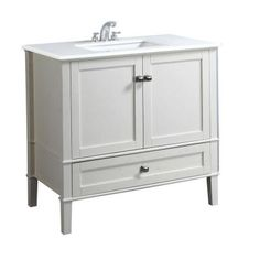 Simpli Home Chelsea 36 in. Vanity in Soft White with Quartz Marble Vanity Top in White and Under-Mounted Rectangular Sink-NL-HHV029-36-2A - The Home Depot