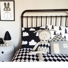Cissy Wears bedding, Lucky Boy Sunday Doll, Rabman Poster by MiniWilla of Sweden. Black white kids room. #toadstoolonComponibili