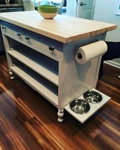 Repinned in Des Moines, IA Repurposed antique dresser turned multifunctional kitchen island