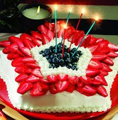 July 4th Cake~T~ I made a simple lemon cake with cream cheese frosting.