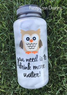 wide mouth water bottle with twist off cap. Cute Water Bottles, Bpa Free Water Bottles, Best Water Bottle, Water Bottle Design, Drink More Water, Fun Crafts, Vinyl Crafts, Vinyl Projects, Tumbler Cups