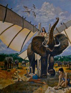 Original Animal Painting by Roger Gordon Save The Elephants, Oil On Canvas, Saatchi Art, Original Paintings, Wings, Artist, Animals, Animales, Animaux