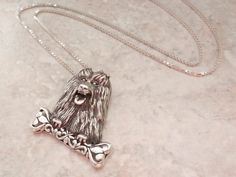 Shih Tzu Dog Necklace Sterling Silver Yorkie Lhasa Apso Jezlaine Vintage #Jezlaine #Pendant